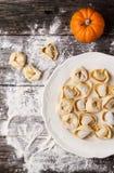 Pasta ravioli with pumpkin Stock Photos