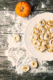 Pasta ravioli with pumpkin Stock Images