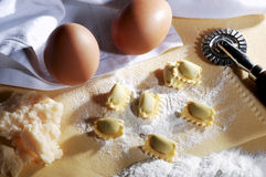 Pasta Ravioli on the table. Egg pasta ravioli cheese on a table Royalty Free Stock Photo
