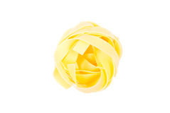 Pasta raw egg color one circle top view isolated on white backgr Stock Photo