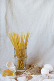 Pasta with raw and whole eggs and flour, Royalty Free Stock Photos