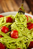 Pasta recipe with avocado and tomatoes Royalty Free Stock Images