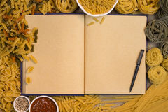 Pasta Recipe Book - Space for Text Royalty Free Stock Image