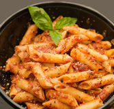 Pasta with red hot sauce Stock Image