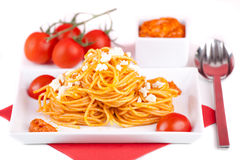 Pasta with red pesto sauce Royalty Free Stock Photo