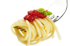Pasta with red sauce and basil on a fork Royalty Free Stock Images