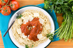Pasta with red sauce and grana padano cheese Royalty Free Stock Photos