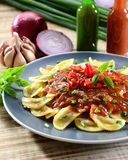 Pasta on red sauce Royalty Free Stock Photo
