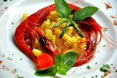 Italian food : pasta with red Sicilian prawns Royalty Free Stock Image