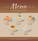 Pasta restaurant menu. Vector design template Royalty Free Stock Images