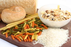 Pasta rice bread cereal Stock Photography
