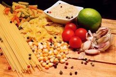 Pasta, rice and corn Stock Photos