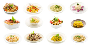 Pasta and Rice dishes - Collage Stock Photography