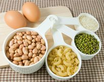Pasta, Rice, Peanuts, Mung Beans and Egg Royalty Free Stock Photography