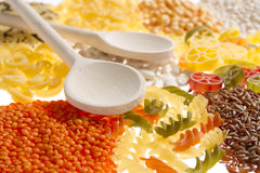Pasta rice and pulses Stock Image
