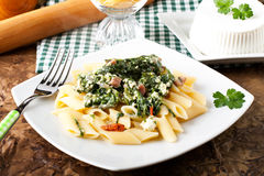Pasta with ricotta and spinach Royalty Free Stock Images