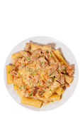 Pasta rigatoni with meat and sauce. top view. isolated Royalty Free Stock Images