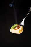 Pasta Rigatoni on fork Royalty Free Stock Photo
