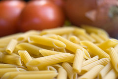 Pasta Rigatoni and Tomatoes Stock Photo