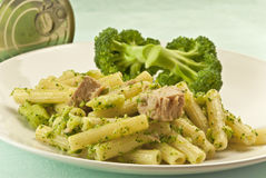 Pasta rigatoni with tuna and broccoli Royalty Free Stock Photos