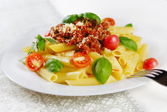 Pasta rigatoni on the white plate Stock Photos