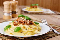 Pasta rigatoni on the white plate Stock Image