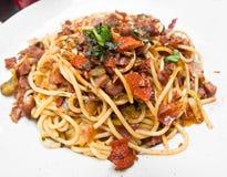 Pasta with roast ham Stock Image