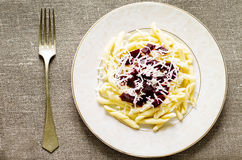 Pasta with roasted beets and goat cheese Royalty Free Stock Image