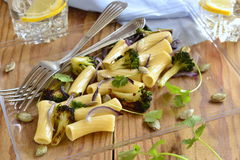 Pasta with roasted broccoli, purple onions, pumpkin seeds Royalty Free Stock Photos