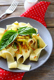 Pasta with roasted carrots and green beans Royalty Free Stock Image
