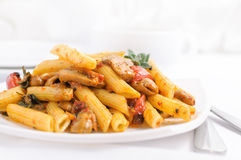 Pasta  with roasted pepper and mushrooms Royalty Free Stock Images