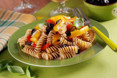 Pasta with roasted peppers Royalty Free Stock Photos