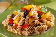 Pasta with roasted peppers Stock Photos