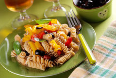 Pasta with roasted peppers Stock Photo
