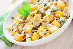 Pasta with roasted pumpkin Royalty Free Stock Photo