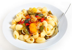 Pasta with roasted veg Stock Photo