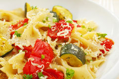 Pasta with Roasted Vegetables Royalty Free Stock Images