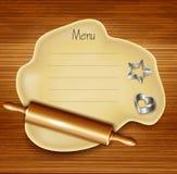Pasta, rodillo, cortadores de la galleta en la madera stock de ilustración
