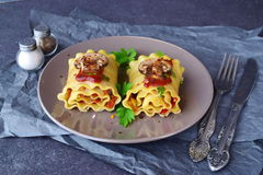 Pasta rolls with vegetables: paprika, onion, olives, mushrooms, tomato on a light brown plate on a grey abstract Royalty Free Stock Photo