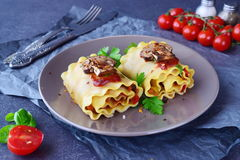 Pasta rolls with vegetables: paprika, onion, olives, mushrooms, tomato on a light brown plate on a grey abstract Stock Image