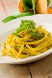 Pasta with Saffron and arugula pesto Royalty Free Stock Photo