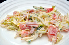 Pasta Salad. A portion of Pasta salad, or noodle salad, on a plate Royalty Free Stock Photo