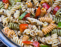 Pasta Salad. Close-up of fresh pasta salad in a bowl royalty free stock photos