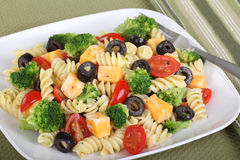Pasta Salad. With cheese, tomatoes, black olives and broccoli stock photography