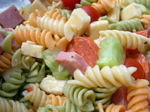 Pasta Salad 2. Yummy pasta salad with chunks of cheese,pepperoni and cucumbers stock images