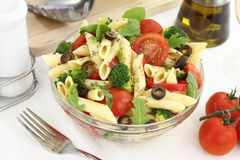 Pasta salad. Penne pasta salad with vegetables and herbs royalty free stock images