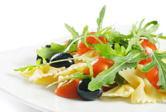 Pasta salad. On white background stock images