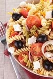 Pasta salad. Fresh pasta salad and fork royalty free stock photo