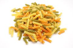 Pasta salad. Spirals of pasta made with various vegetables, especially for salads royalty free stock photo