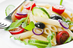 Pasta salad. With tomato, black olives and arugula stock photography